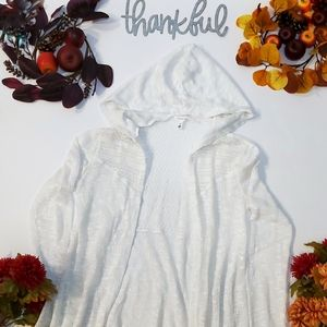 Aeropostal Long Open Front Crochet Hooded Top…